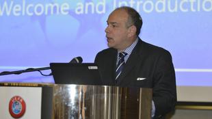 El presidente Michael Llamas durante una intervención en la UEFA