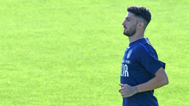 Piccini durante un entrenamiento con Italia.