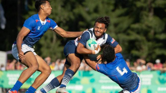 Un partido de rugby 7 entre Samoa y Estados Unidos.