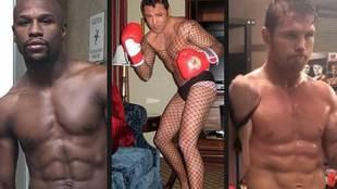 Floyd Mayweather, Óscar de la Hoya (boxeando en lencería femenina) y...
