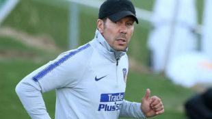 Simeone, en un entrenamiento del Atlético.