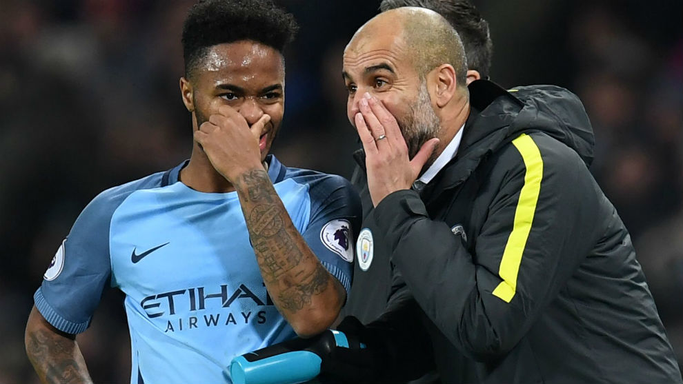 Raheem Sterling and Pep Guardiola.