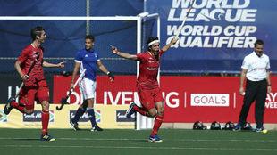 España celebra uno de los goles marcados en la fase de grupos de la...
