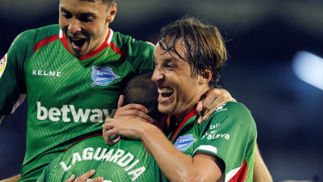 Tomas Pina and Laguardia celebrate Alaves' goal