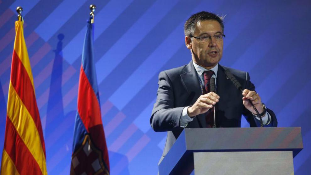 Josep Maria Bartomeu, en la Asamblea.