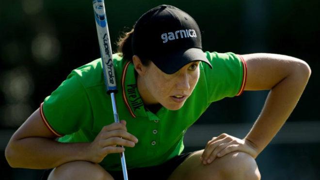 Carlota Ciganda en acción durante la primera jornada del...