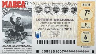 El décimo de Lotería homenaje al 80 aniversario de MARCA.
