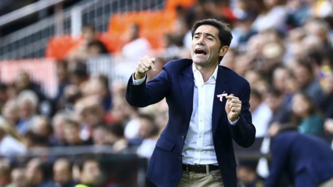 Marcelino during the match against Leganés.