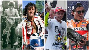 Agostini, Nieto, Rossi y Márquez