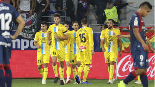 Borja Iglesias celebrates a goal.