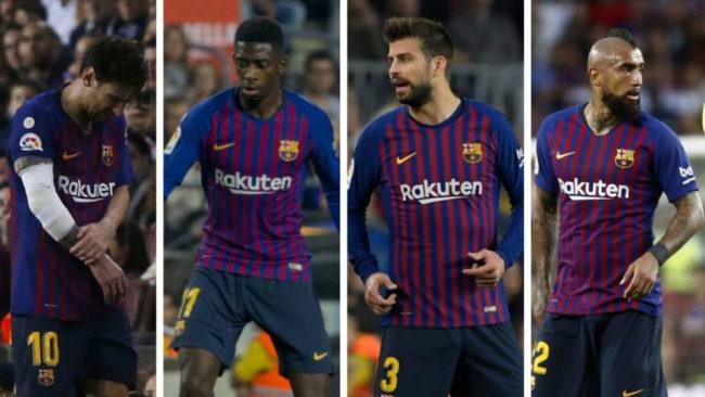 Messi (lesionado), Dembélé, Piqué y Arturo Vidal.