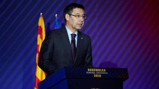 Josep Maria Bartomeu, durante la asamblea del pasado sábado.