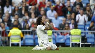 Marcelo se lamenta en un momento del partido contra el Levante