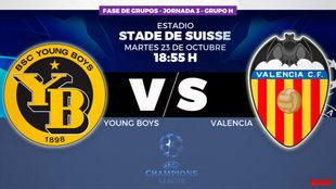 Young Boys - Valencia, el martes 23 de octubre a las 18:55 horas.