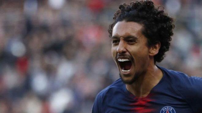 Marquinhos celebrates his goal against Amiens.