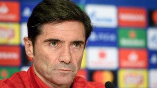 Marcelino en rueda de prensa previa al partido de Champions contra el...