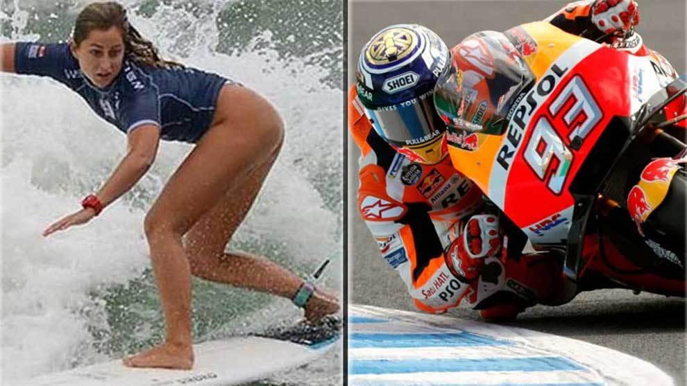 La surfista Lucía Martiño y el motociclista Marc Márquez