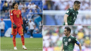 Memo Ochoa, Chicharito y Guardado, con la selección mexicana.
