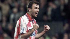 Pantic celebra un gol con el Atlético.