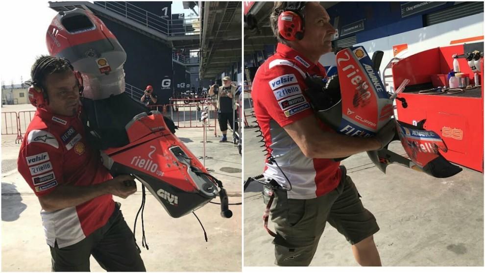 La GP18 quedó destrozada tras el accidente de Jorge en Tailandia.