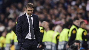 Julen Lopetegui looks downwards during the match between Real Madrid...
