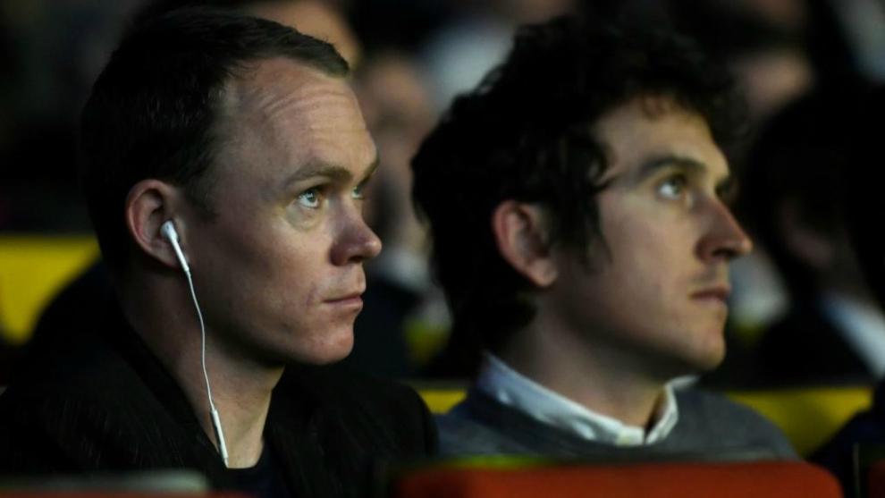 Chris Froome, junto a Geraint Thomas en el acto de presentación.