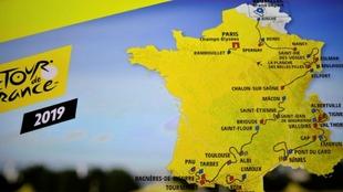 Mapa completo del recorrido del Tour de Francia 2019.