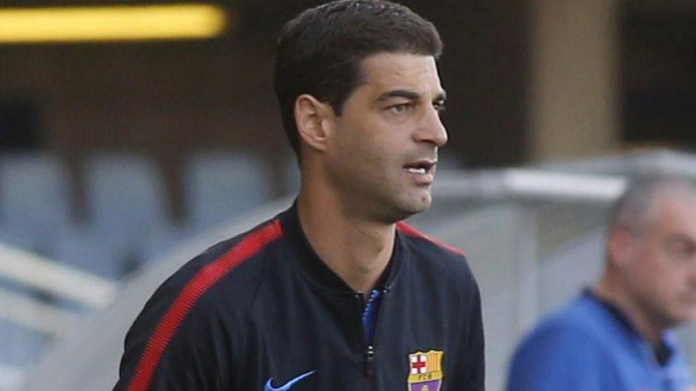 Gerard López duante un partido con el Barça B
