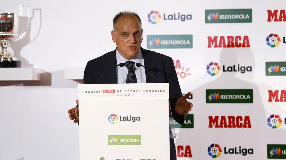 Javier Tebas, durante la II Gala de los Premios MARCA de Fútbol...