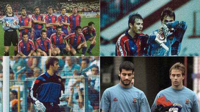 Julen Lopetegui, en diversos momentos de su etapa en el Barça