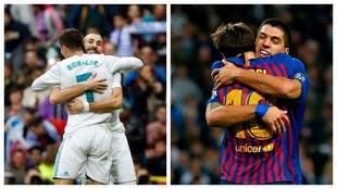 Luis Suárez se abraza con Messi y Benzema con Cristiano