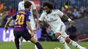 Sergi Roberto y Marcelo en el último Barcelona vs Real Madrid...