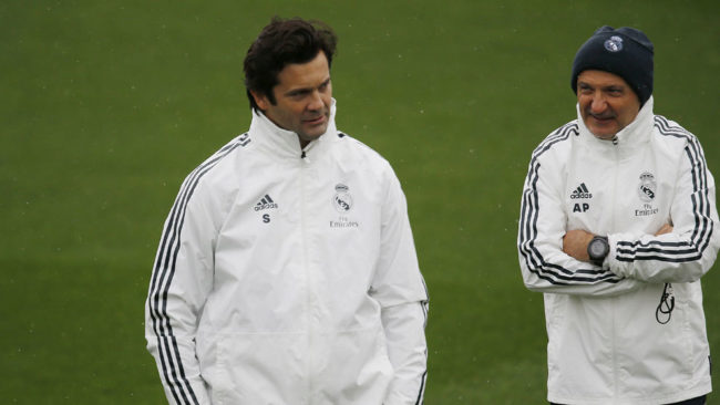 Solari y Pîntus, durante el entrenamiento del Real Madrid.