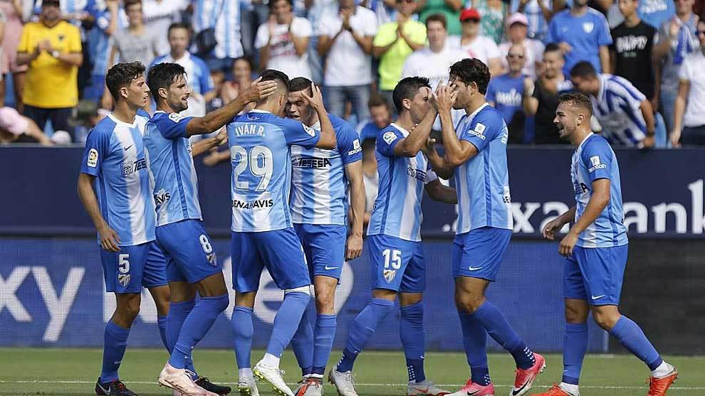 Una de las muchas celebraciones de los jugadores del Málaga esta...