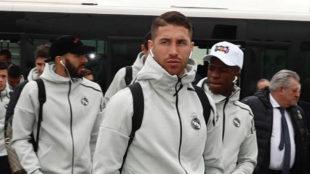 Sergio Ramos en el viaje a Melilla.