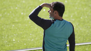 Calleja durante un  entrenamiento con el Villarreal en el estadio de...