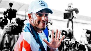 Lewis Hamilton celebra su pentacampeonato.