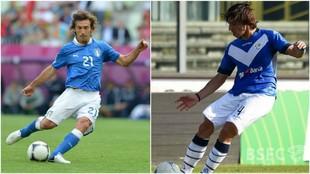 A la derecha, Andrea Pirlo. A la izquierda, Sandro Tonali