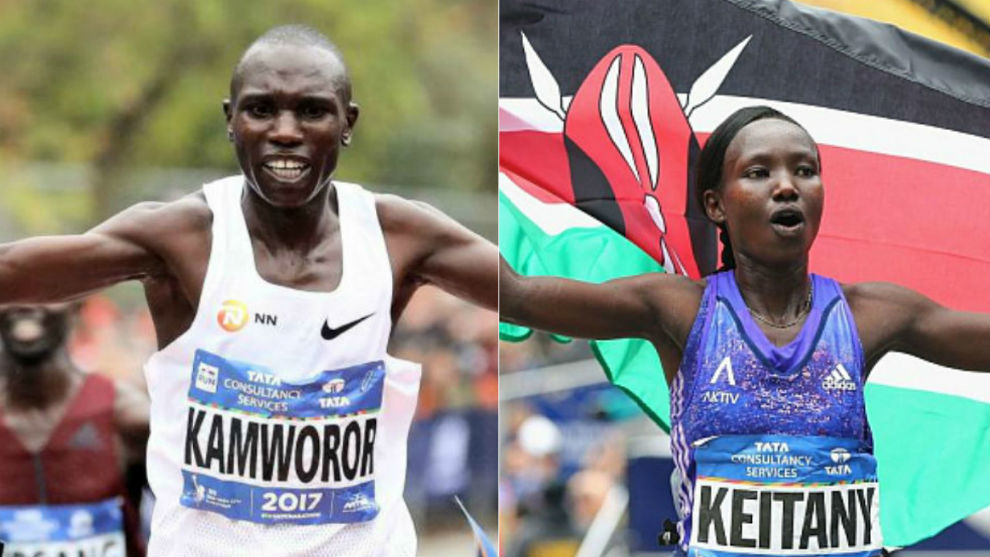 Geoffrey Kamworor y Mary Keitany.