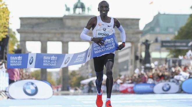 Eliud Kipchoge, en el maratón de Berlín.