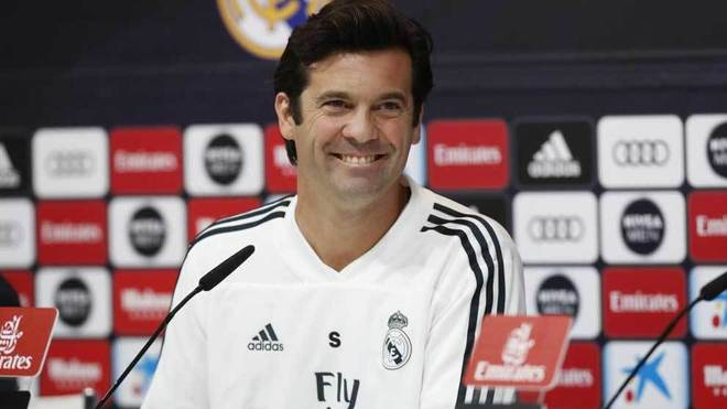 Solari smiles during the press conference.