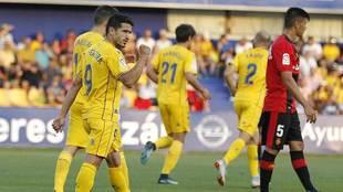 Jonathan Pereira celebra con el puño en alto su gol al Mallorca