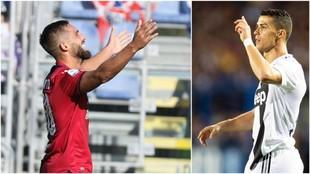 A la izquierda, Pavoletti. A la derecha, Cristiano Ronaldo.