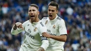 Ramos celebra su gol.