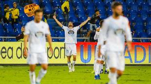 Los jugadores del Deportivo celebran su triunfo en el Gran Canaria