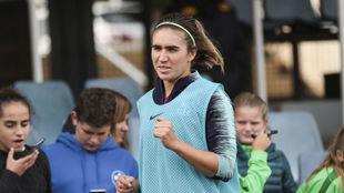 Mariona Caldentey durante un entrenamiento del Barcelona.
