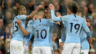 Los futbolistas del City festejan un gol al Southampton