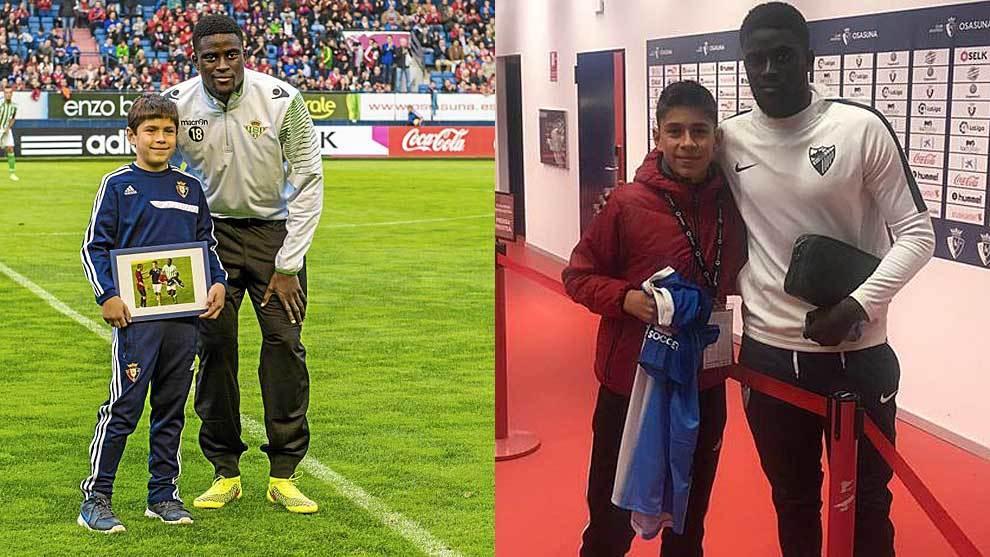 N'Diaye con el joven rojillo Ibai en noviembre de 2014 y este sábado