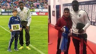 N'Diaye con el joven rojillo Ibai en noviembre de 2014 y este...