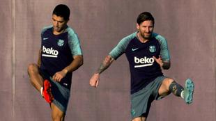 Messi y Suárez, en un entrenamiento reciente.